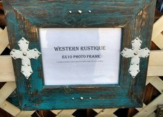 Western Decor 8x10 Turquoise brush with white hair on Hide crosses accented with rivets by WesternRustique on Etsy