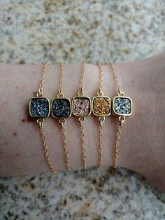 Druzy Square Bracelet  http://www.tiffanyrosedesigns.net/new-products-2/druzy-square-bracelet