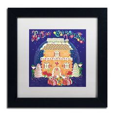 """Trademark Art 'Xmas Gingerbread House' Framed Graphic Art Print Size: 11"""" H x 11"""" W x 0.5"""" D, Mat Color: White"""
