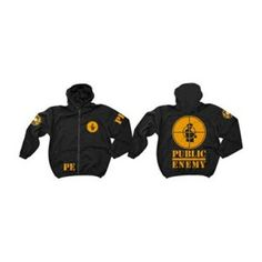 Public Enemy 25th Anniversary Hoodie - Celebrate Public Enemy's 25th anniversary with this black zip hoodie with front and back graphics.