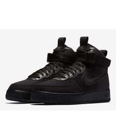 cfcd43f9cc40 Nike Air Force 1 High Triple Black Canvas Whole Black Shoes Sale UK