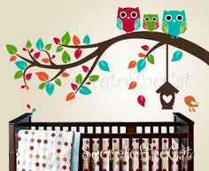 Branch with Owls decal - Baby tree decal - Owl Decals Branch Wall Decals - Children Vinyl - Wall decal Nursery