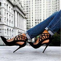Shoespie Stylish Black Cut out Stiletto Heels