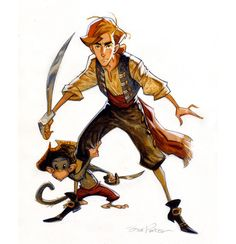 "ezekialmcadams: ""Artwork by Steve Purcell for the canceled Monkey Island animated movie that was going to be done by ILM and LucasFilm in the early The interesting thing is the writers who. Character Design Cartoon, Character Design Animation, Character Design References, Character Drawing, Character Design Inspiration, Character Illustration, Character Concept, Concept Art, 3d Character"