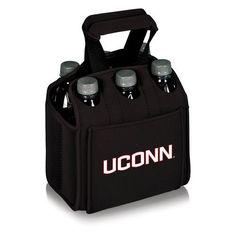Six Pack Beverage Carrier - Black (University of Connecticut - Huskies) Digital Print