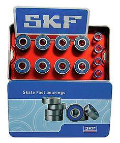 Acht Kugellager, vier Spacer plus ein Sticker von SKF in einer schönen Blechdose.    Merkmale:  - gefettet  - wartungsfrei