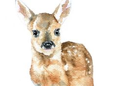 Deer Fawn Watercolor Painting Giclee Print 8x10 by SusanWindsor, $16.00