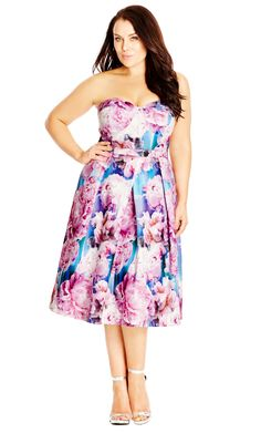 City Chic Rainbow Rose Dress   - Women's Plus Size Fashion - City Chic Your Leading Plus Size Fashion Destination #citychic #citychiconline #newarrivals #plussize #plusfashion #occasiondress #wedding #engagement #races #raceready #bridesmaid #formal #prom