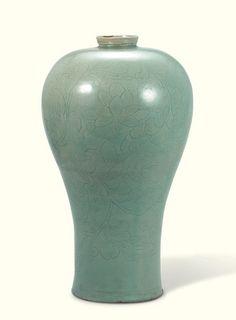 Goryeo Dynasty (12th century) Korea  Maebyeong, Celadon Vase with Incised Lotus-scroll Design