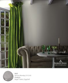 See the 24 gorgeous paint colors that are part of the 2017 Color Trends and also the Color of the Year from Benjamin Moore. Top Paint Colors, Color Of The Year 2017, Trending Paint Colors, Interior And Exterior, Interior Design, Interior Colors, Benjamin Moore Colors, Green Curtains, Velvet Curtains