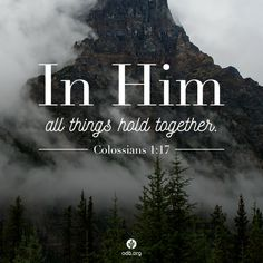 """""""And he is before all things, and in him all things hold together."""" Colossians thank you Jesus! Bible Verses Quotes, Bible Scriptures, Faith Bible, Christian Life, Christian Quotes, Christian Living, Images Bible, Scripture Pictures, Rhone"""