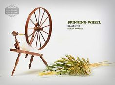 Miniature-18th-Century-Large-Flax-Spinning-Wheel-Spin-dollhouse-artisan-1-12th
