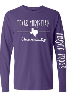 Show off your team spirit for TCU Horned Frogs with this Womens Purple State T-Shirt! Rally House has a great selection of new and exclusive TCU Horned Frogs t-shirts, hats, gifts and apparel, in-store and online. Cute Cheer Shirts, Cheerleading Shirts, Gymnastics Shirts, Team Shirts, Band Shirts, Softball, School Spirit Wear, School Spirit Shirts, School Shirts