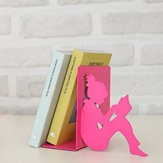 Girl Reading a Book Bookend set of 2 - Pink