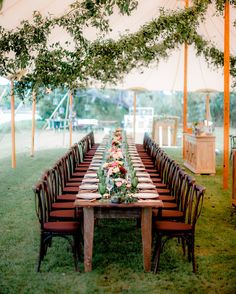 Smilax vine gathered from the woods around Charleston was strung over the dinner tables in the reception tent.