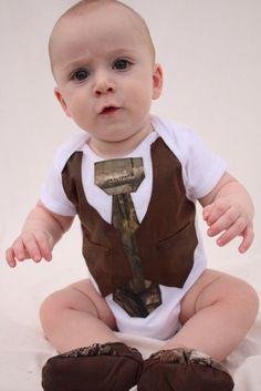 Baby boy camo vest shirt, tie shirt, Baby boy photo prop, baby boy Realtree shoes. $34.99, via Etsy.