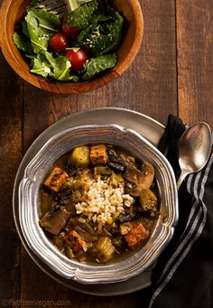 """#Vegan Mushroom and Tempeh Gumbo: Thanksgiving is about 2 weeks away, so I thought it was about time I posted an appropriate recipe. To me, this is """"Thanksgiving Gumbo"""" because it contains m..."""