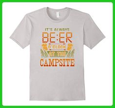 Mens Camping Tees: It's Always Beer O'Clock At The Campsite Shirt 3XL Silver - Food and drink shirts (*Amazon Partner-Link)