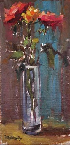 """Roses"" - Original Fine Art for Sale - © by Cathleen Rehfeld http://dailypaintworks.com/buy/auction/111708"