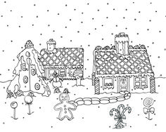 Free Downloadable Christmas Ginger Bread Houses Adult Coloring Page