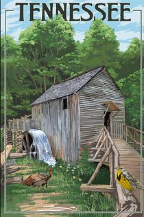 Cable Mill - Great Smoky Mountains National Park, TN by Lantern Press Landscapes Art Print - 46 x 61 cm Great Smoky Mountains, National Park Posters, National Parks, Estes Park Lodging, Wisconsin, Michigan, Vintage Travel Posters, Poster Vintage, Vintage Signs