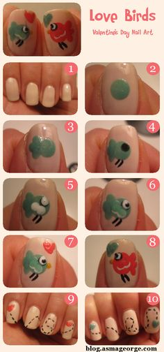 Valentine's Day nail art tutorial about two little love birds.