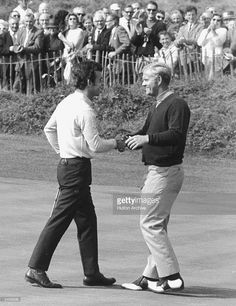 Tony Jacklin (left) of Great Britain and Jack Nicklaus of the USA congratulate…