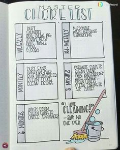 I love cleaning! said no one ever. Smart layouts for household chores, for journals and planning.