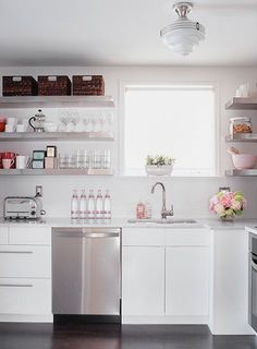 cant get enough of white kitchens with open shelving