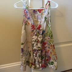 Anthropologie LEIFSDOTTIR Summer Floral Silk Blous Rainbow multi-color floral silk sleeveless blouse with front ruffle and side-zip, perfect with a skirt for brunch and a broadway show :) Anthropologie Tops Blouses