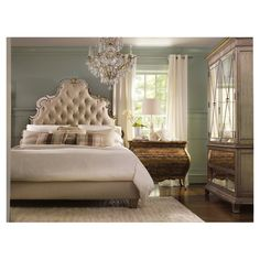 Sanctuary Headboard - Interesting with the plaid pillows and mirrored chests - note also the wall colors!