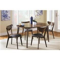 Malone Mid-century Modern 5-Piece Solid Wood Dining Set