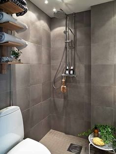 Shower : Scandinavian Bathroom Shower Ideas With Grey Ceramic Wall And Floating Wooden Shelves For Small Space 12 Bathroom Shower Doorless Shower. Bathroom Showers Without Doors. Scandinavian Bathroom Design Ideas, Bathroom Design Small, Simple Bathroom, Bathroom Interior Design, Small Bathrooms, Bathroom Designs, Bathroom Ideas, Bath Design, Modern Bathrooms