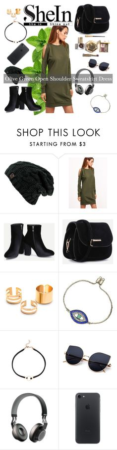 """SHEIN - Olive Green Open Shoulder Sweatshirt Dress"" by miss-maca ❤ liked on Polyvore featuring Jabra, fashionset, polyvorecontest and shein"