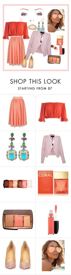 """""""Rose/nude"""" by scarlet87 ❤ liked on Polyvore featuring Yumi, Sans Souci, Anabela Chan, BCBGMAXAZRIA, NYX, Michael Kors, Hourglass Cosmetics, MAC Cosmetics, Christian Louboutin and Quay"""