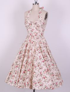 50s country rose swing halterneck dress 2012815B [2012815B] - £34.99 : Queen of Holloway, Dressing Shop