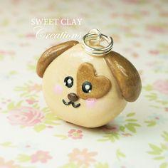 Brown Puppy Dog Kawaii Charm Polymer Clay Jewelry Sweet Clay Creations