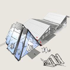 Architecture Esquisse Croquis Dessin Croquis Architecture, Architecture Design, Sketch Drawing, Drawings, Metal Buildings, Sketching, Architecture Layout, Sketch, Sketches
