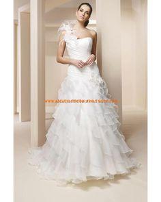 2013 Schönste Luxuriöse Brautmode aus Organza und Satin A-Linie Einschulter