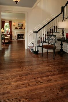 Picture of the Dura Seal coffee brown stain on red oak in the foyer.
