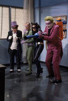 A Bevy of Batman Villains attempt to inconvenience the dynamic duo. Lee Meriwether as Catwoman, Frank Gorshin as The Riddler, Burgess Meredith as Penguin and Cesar Romero as The Joker. Batman 1966, Im Batman, Batman Robin, Batman Riddler, Gotham Batman, Batman Art, Batgirl, Catwoman, Supergirl