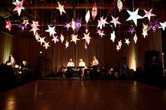 pennsylvania barn wedding. paper star lanterns