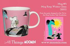 71 Moomin mug Keep Waters Clean Moomin Mugs, Moomin Valley, Tove Jansson, Marimekko, Finland, Tea Pots, Cleaning, Tableware, Water