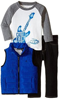 Calvin Klein Baby Boys Blue Puffy Vest with Tee and Pants Blue 12 Months ** Want to know more, click on the image.