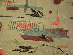 BARKCLOTH - Eames Era Vintage Retro Panel Aqua, Pink, Chocolate on Taupe