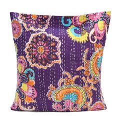 "16"" Indian Cotton Floral Unique Handmade Art Design Pillow Kantha Cushion Cover  #Unbranded #KanthaStyle"
