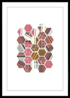 ARTFINDER: Hybrid No:4 by Leigh Bagley - Hexagonal Collage. Recycled artwork - original digital work once printed is cut using a digital plotter.  Occasionally during the digital printing process th...