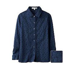 chemise manches longues bleu marine en dentelle