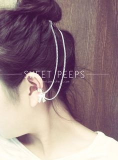 Silver Dainty Bow Ear Cuff Hair Comb by sweetpeepshere on Etsy, $15.00