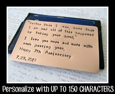 Wallet Insert Card Hand Stamped Copper Personalized by RameWorks, $15.00